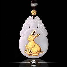 开光十二生肖属兔翡翠镶金吊坠★12生肖属兔吉祥物挂坠★护身辟邪保平安